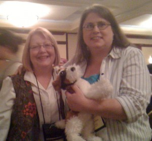 "With my editor, Debra Dixon, and ""Fang"" at a writer's conference."